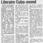 Artikel literaire avond over Cuba